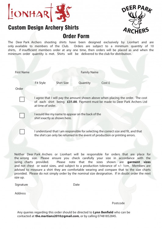 New Shirt Order Form
