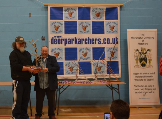 A World Record (subject to ratification) for Steve Prowse from Wolverhampton Company of Archers receives the trophy from Peter Pawley our Gentleman Patron for the day.