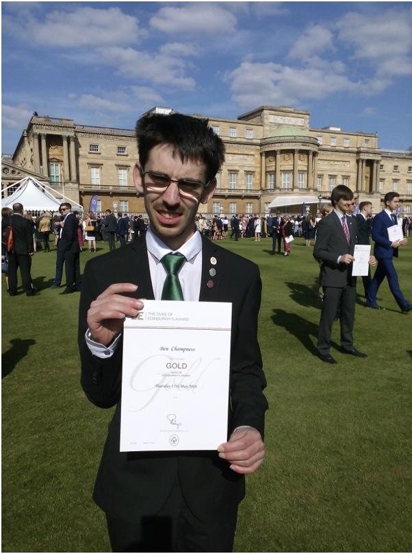 Ben at Buckingham Palace. Well done!